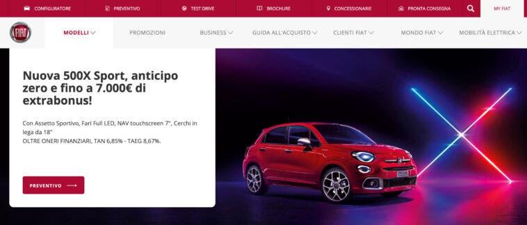 Promozione novembre 2020 Fiat 500X con doppia scelta