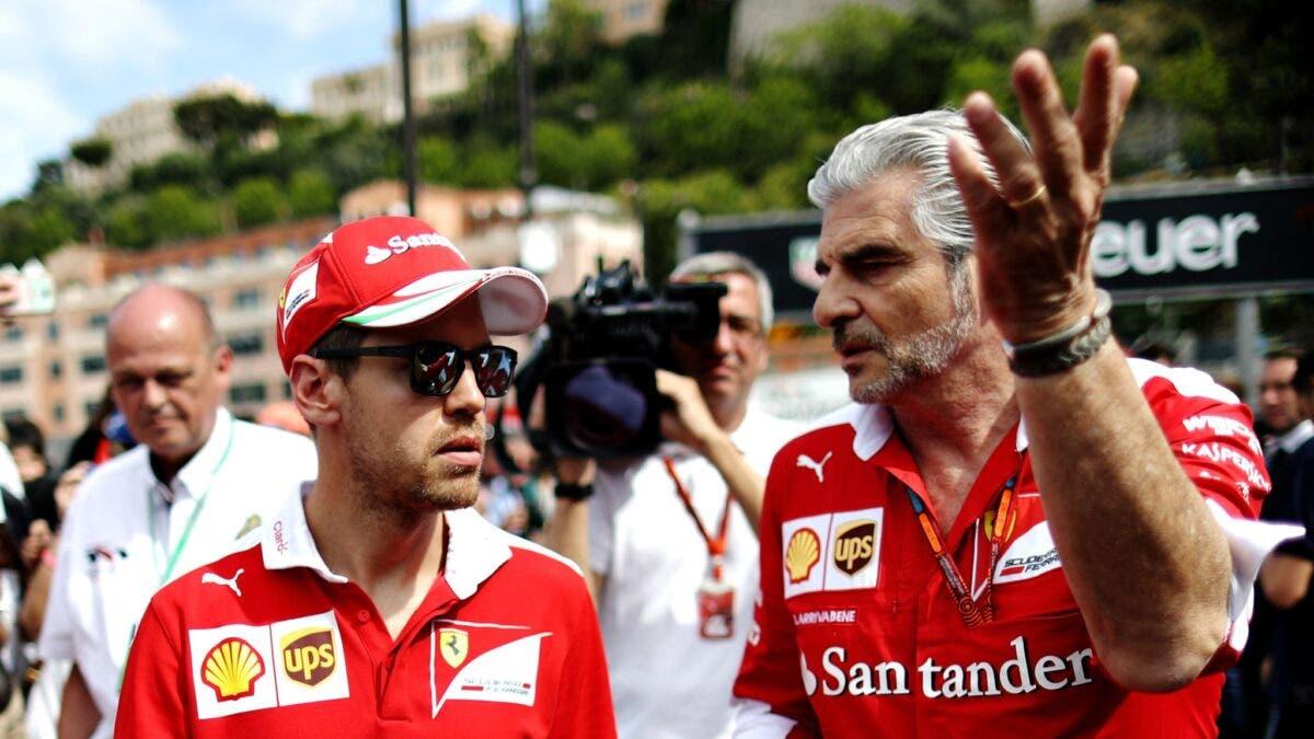 Sebastian Vettel con Maurizio Arrivabene