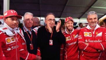 Vettel, Marchionne, Arrivabene, Ferrari, Raikkonen
