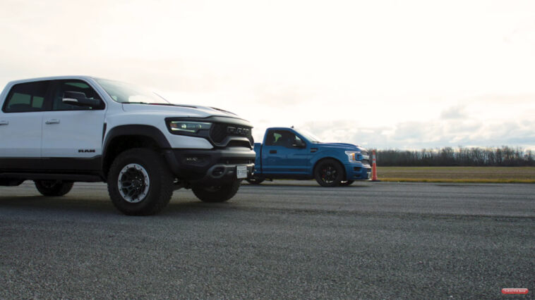 Ram 1500 TRX vs F-150 Super Snake Sport drag race