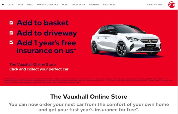 Vauxhall Online Store Regno Unito