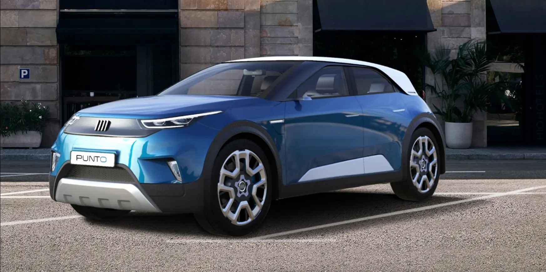 FCA PSA Fiat Punto 2022 concept blu esterni anteriore