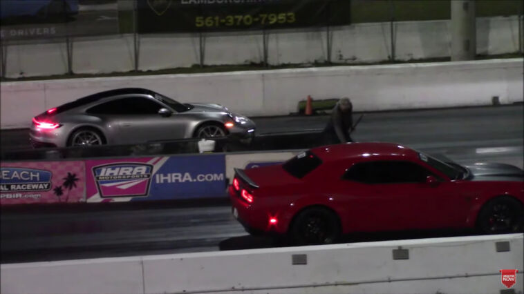 Dodge Challenger SRT Hellcat vs Porsche 911 Carrera drag race