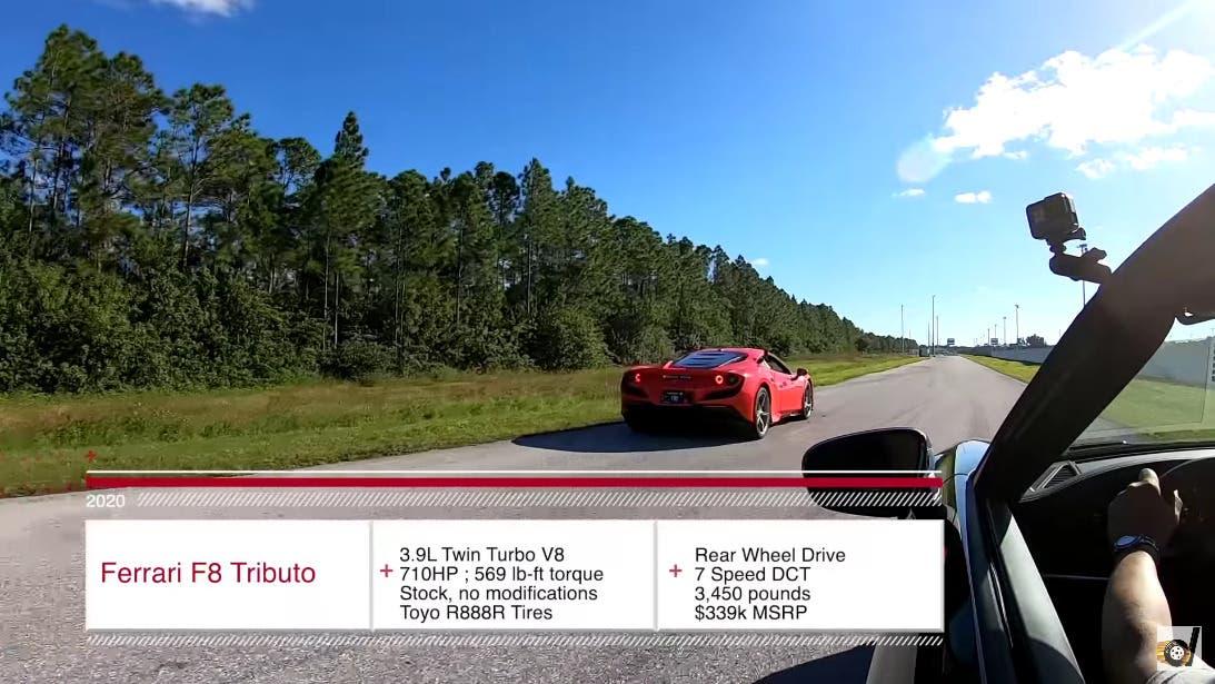Ferrari F8 Tributo vs Porsche 911 Turbo S drag race