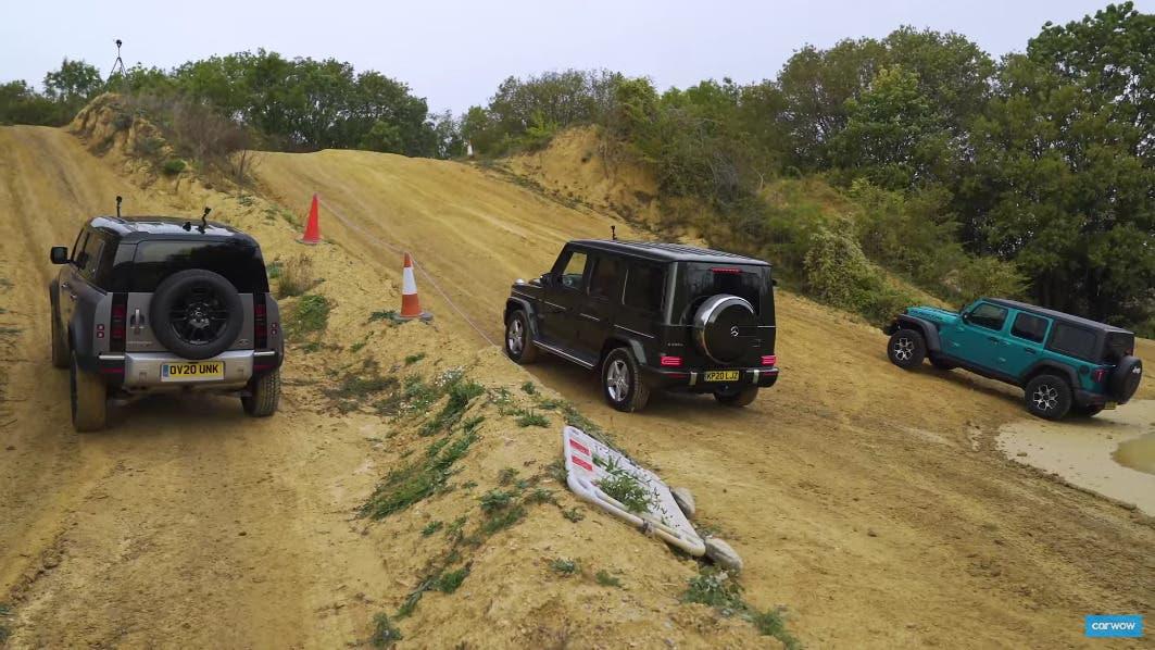 Jeep Wrangler vs Land Rover Defender vs Mercedes Classe G test off-road