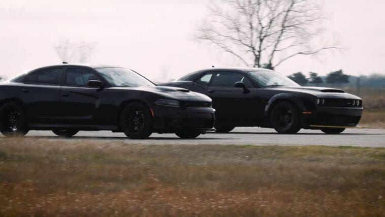 Dodge Charger SRT Hellcat HPE900 vs Demon stock