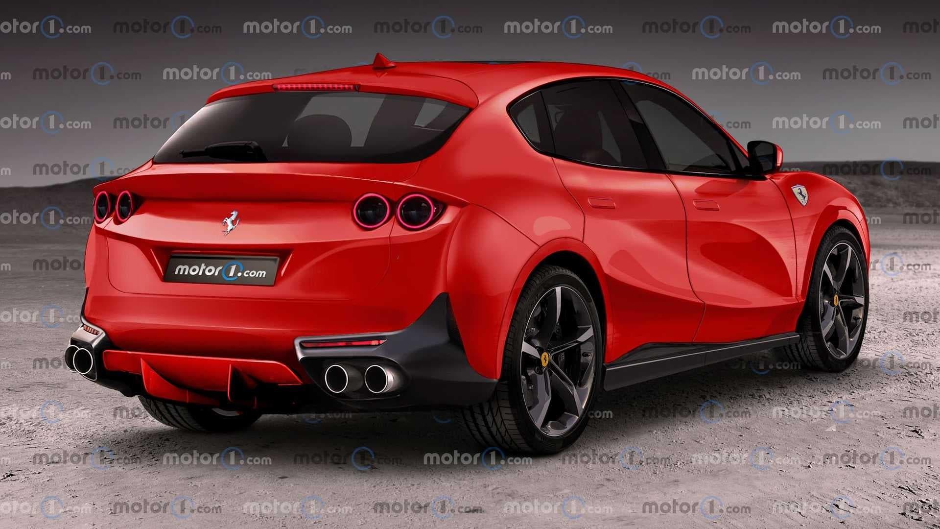 Ferrari Purosangue tre quarti posteriore render