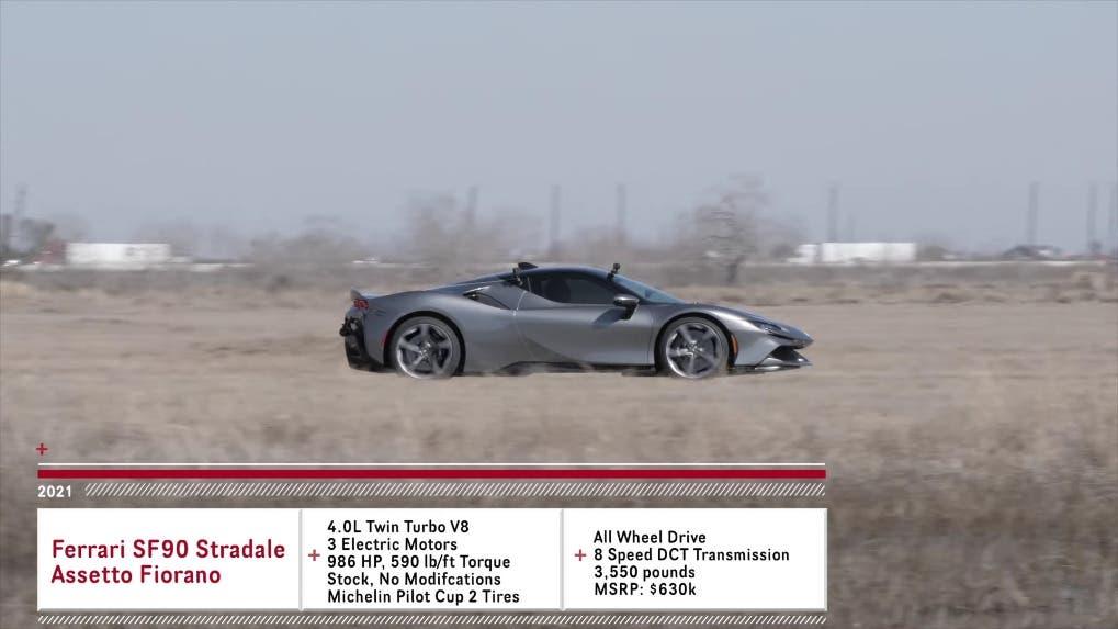 Ferrari SF90 Stradale vs McLaren 765LT drag race