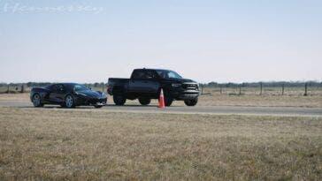 Ram 1500 TRX vs Chevrolet Corvette C8 drag race