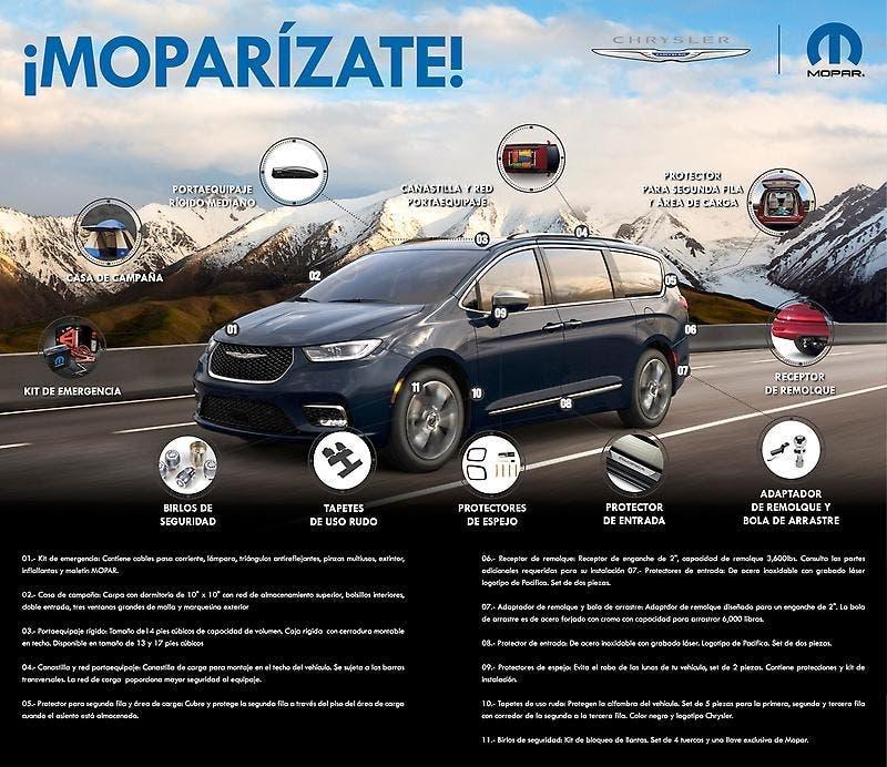 Chrysler Pacifica 2021 accessori Mopar Messico