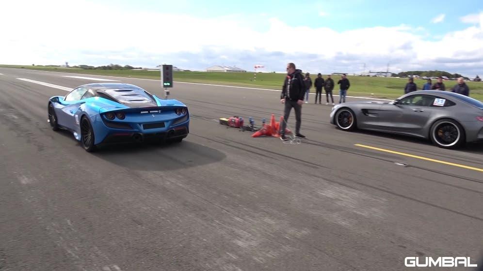 Ferrari F8 Tributo vs Mercedes-AMG GT R Pro drag race