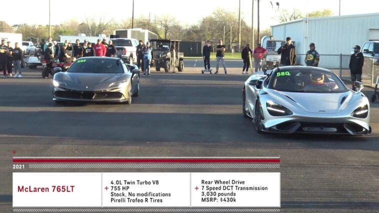 Ferrari SF90 Stradale vs McLaren 765LT nuova drag race
