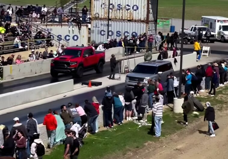Ram 1500 TRX vs Ford Flex drag race