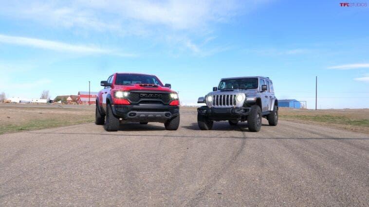 Ram 1500 TRX vs Jeep Wrangler Rubicon 392 drag race