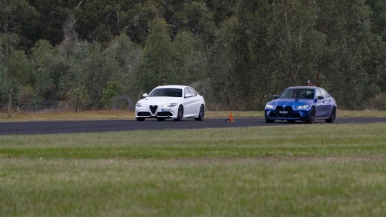 Alfa Romeo Giulia Quadrifoglio vs BMW M3 Competition drag race