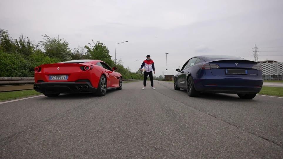 Ferrari Portofino vs Lamborghini Huracán Evo vs Tesla Model 3 Performance drag race