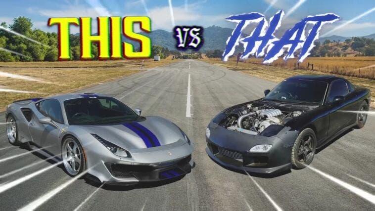 Ferrari 488 Pista vs Mazda RX-7 modificata drag race