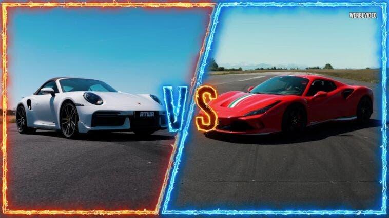 Ferrari F8 Spider vs Porsche 911 Turbo S drag race