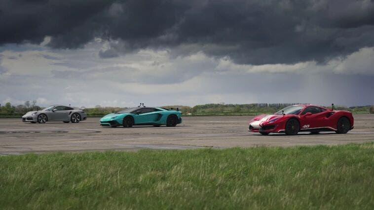 Ferrari 488 Pista Piloti vs Porsche 911 Turbo S Lamborghini Aventador SV drag race