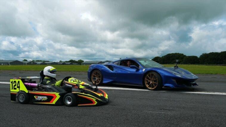 Ferrari 488 Pista vs go-kart drag race