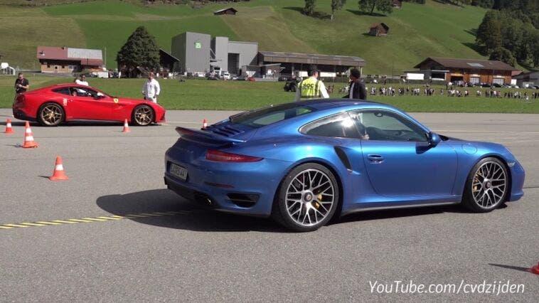 Ferrari F12berlinetta vs Porsche 911 Turbo S drag race
