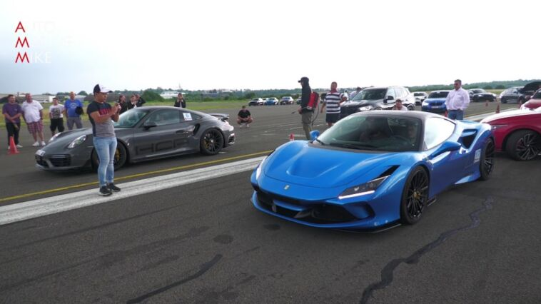 Ferrari F8 Tributo vs Porsche 911 Turbo S 991.2 drag race