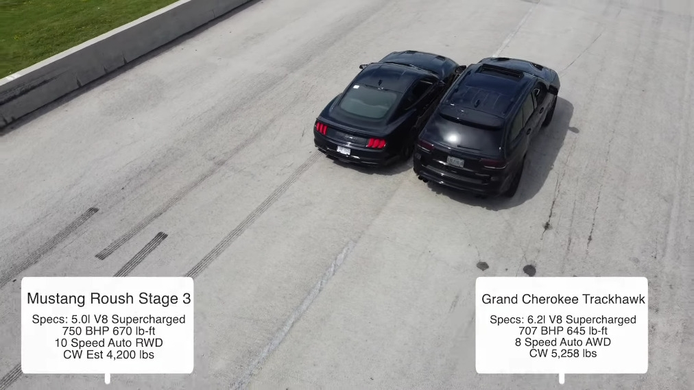 Jeep Grand Cherokee Trackhawk vs Ford Mustang Roush drag race
