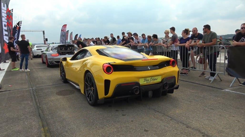 Ferrari 488 Pista gialla drag race