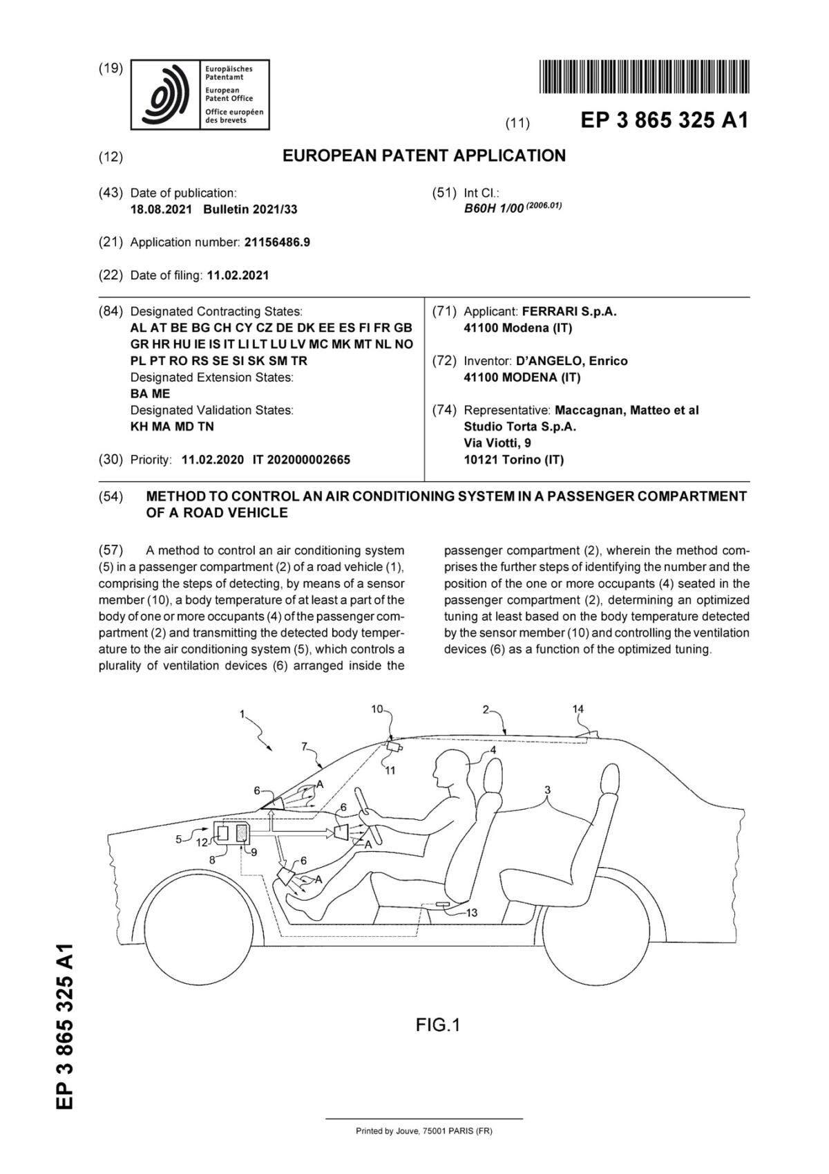 Ferrari sistema climatizzazione brevetto