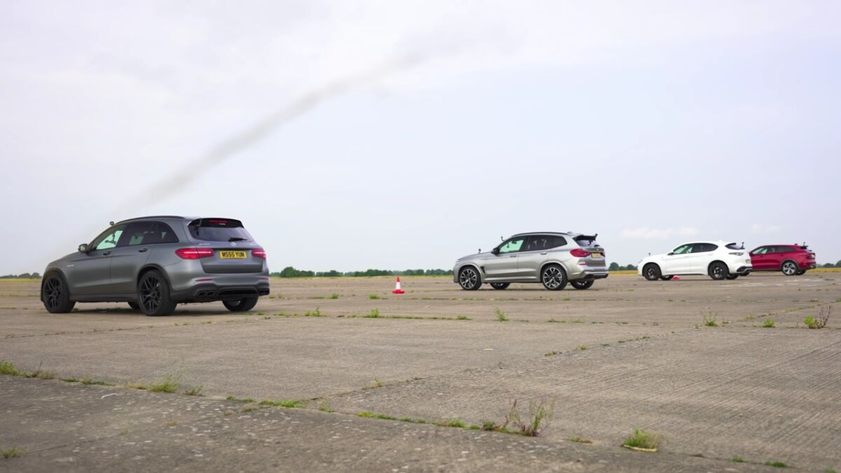 Alfa Romeo Stelvio Quadrifoglio vs BMW X3 M vs Mercedes-AMG GLS 63 S vs Jaguar F-Pace SVR drag race