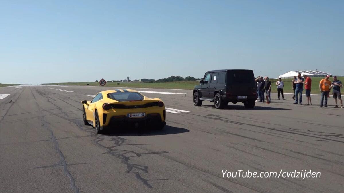 Ferrari 488 Pista vs Mercedes-AMG G 63 drag race