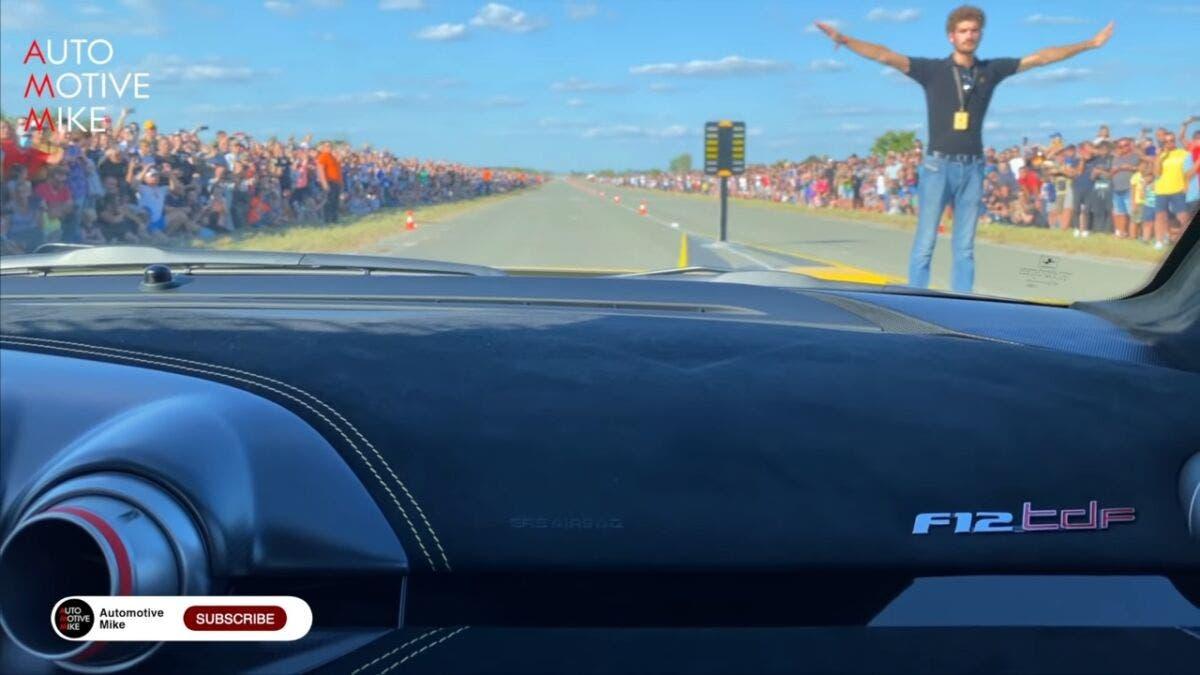 Ferrari F12tdf vs Rimac Nevera drag race