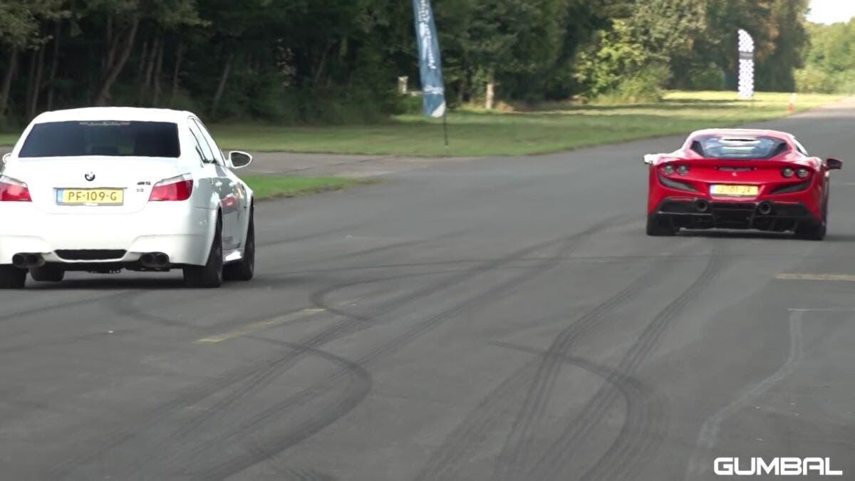 Ferrari F8 Tributo vs BMW M5 V10 drag race
